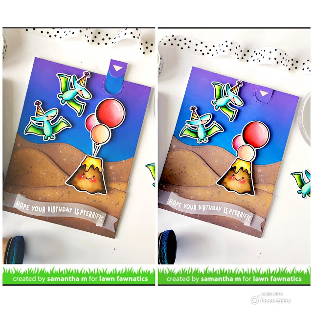 Have a Pterrific Birthday Interactive Card by Samantha Mann, Lawn Fawn, Lawn Fawnatics, Interactive, Pull Tab, Slider, Birthday, Dinosaur #lawnfawn #lawnfawnatics #birthday #cards #birthdaycard #distressinks #Inkblending #interactive
