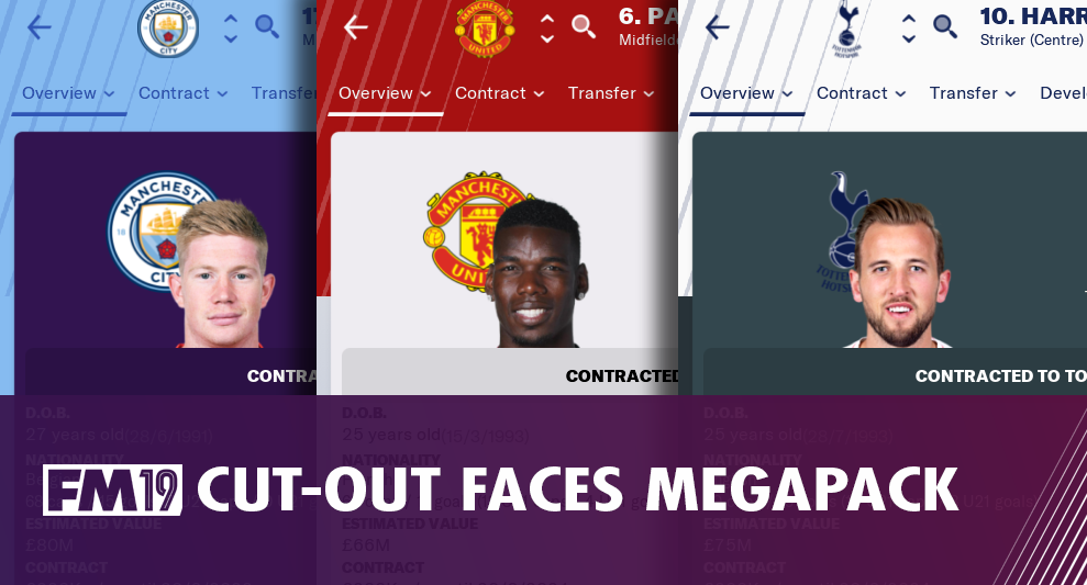 Football Manager 2019 Cut Out Player Faces Megapack
