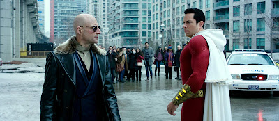 Shazam 2019 DC movie still Zachary Levi Mark Strong Sivana