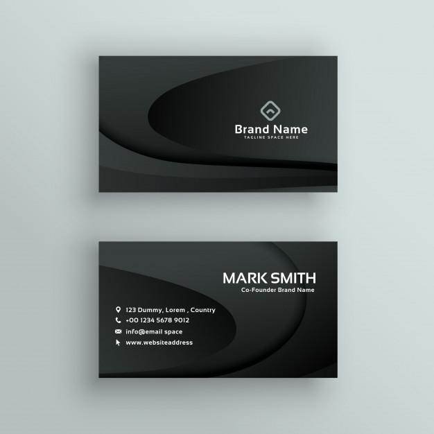 Vector dark business card design Free Vector