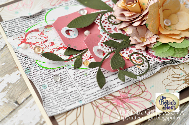 card for Robins Nest @akonitt #card #by_marina_gridasova #video-tutorial