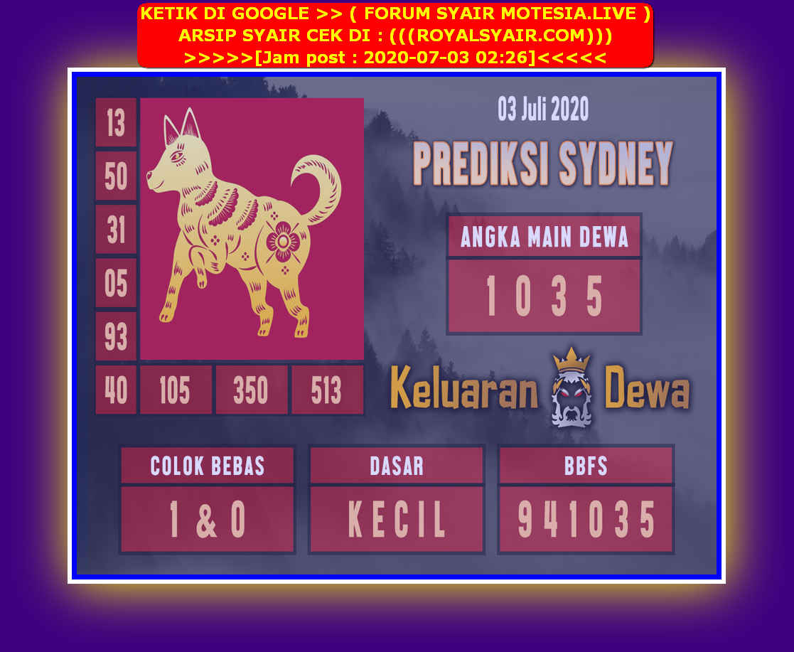 Kode syair Sydney Jumat 3 Juli 2020 10