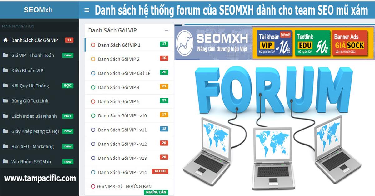 Danh sách hệ thống forum của SEOMXH dành cho team SEO mũ xám