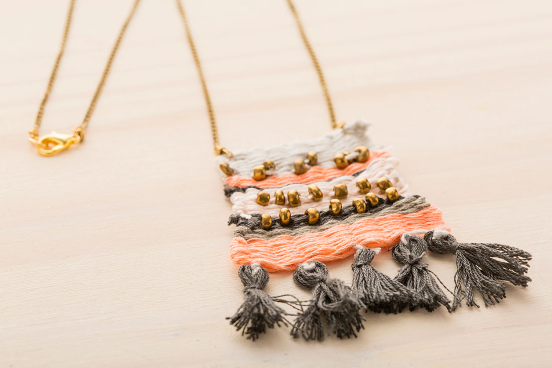 Easy embroidery floss woven pendant using a diy loom the