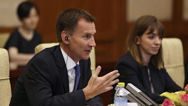Segretario degli esteri britannico Hunt avverte la Russia