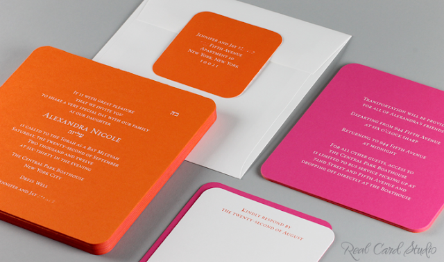 transportation card, reply card, return address label, square, rounded corners, tangerine tango, fuchsia pink