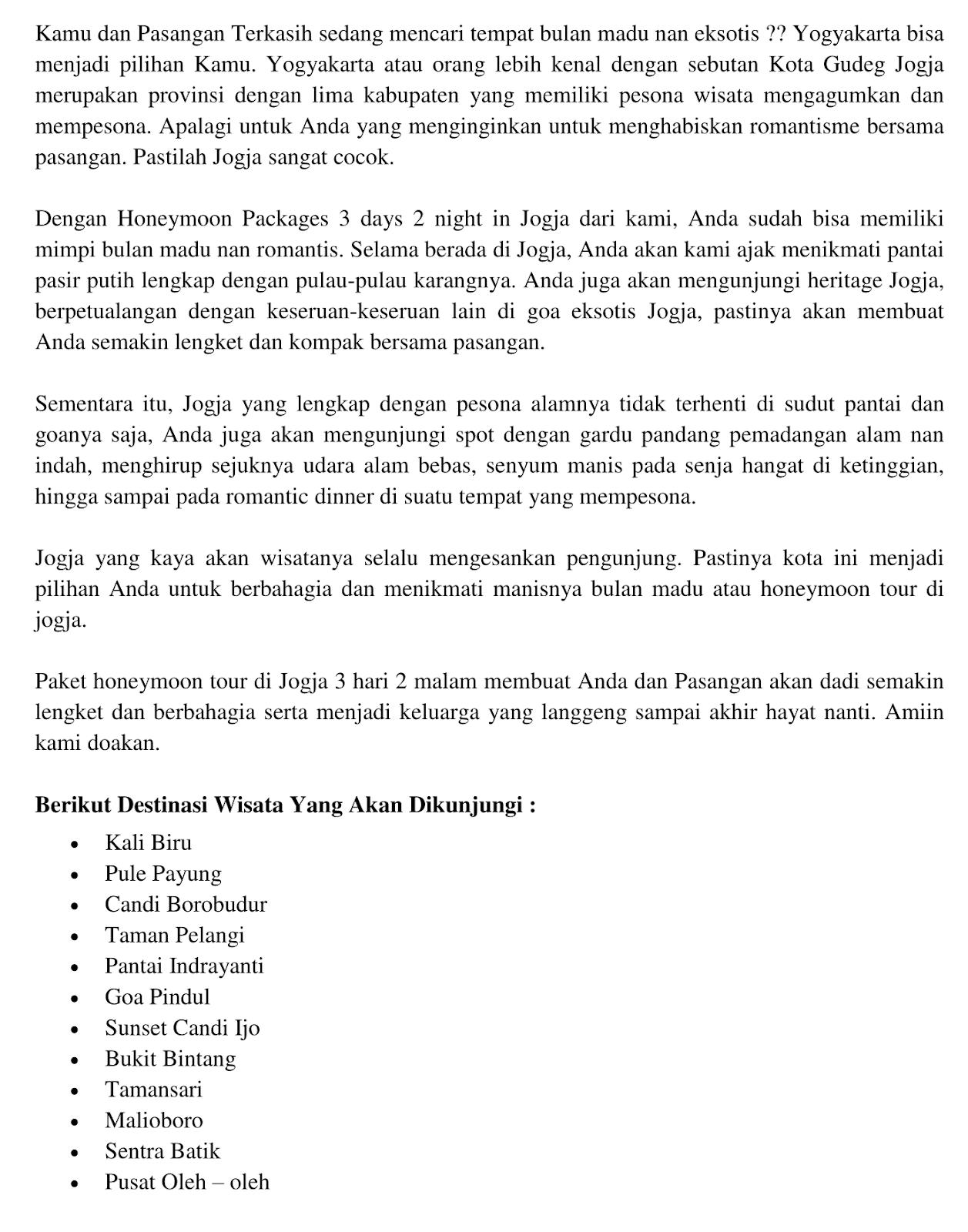 wisata honeymoon di jogja Paket Wisata Honeymoon Di Jogja 2018
