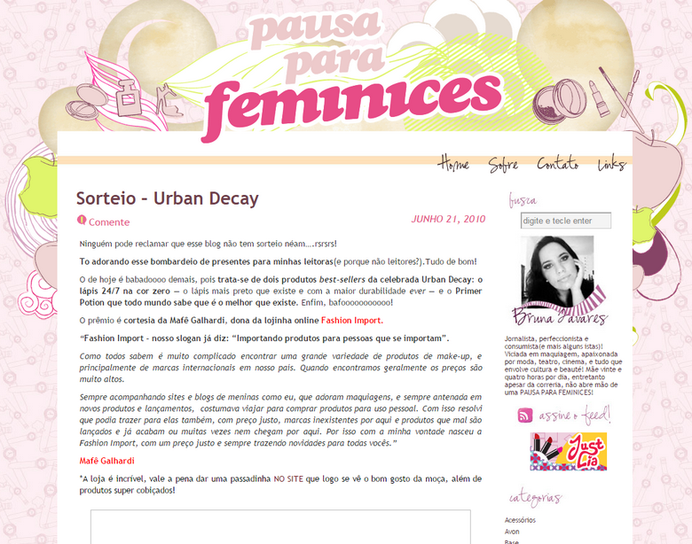 Layout antigo blog Pausa para Feminices