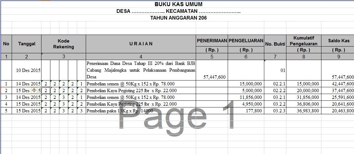 Format Laporan Buku Kas Umum Bku Dan Kwitansi Dana Desa