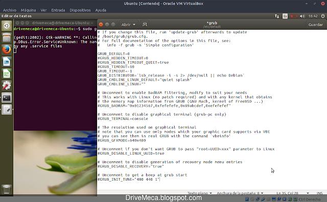 Cambiamos parametros de grub en linux ubuntu