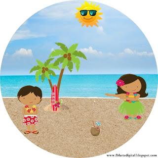 Toppers o Etiquetas de Fiesta Hawaiana de Chicas para imprimir gratis.