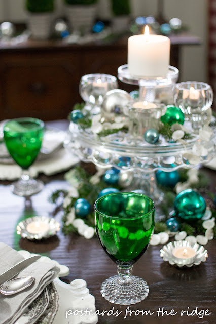 Holiday Tablescape Ideas using mostly vintage items. Love the green goblets.