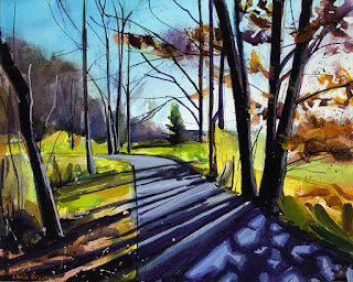 An acrylic painting of trees at Walton Woods in autumn