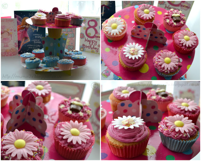 Home made easy Birthday cupcakes with pink frosting and flowers. @ Ups and downs, smiles and frowns.