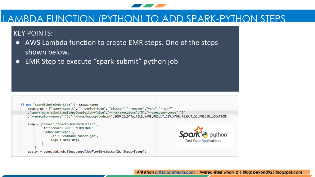 Spark Python job using AWS Lambda, Elastic Map Reduce (EMR) Step