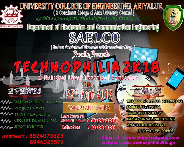 TECHNOPHILIA 2K18: ECE Symposium at University College, Ariyalur