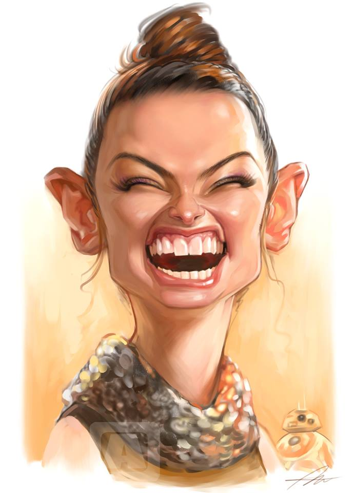Caricatura de Daisy Ridley por Angineer Ang