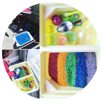 rainbow rice tuff tray with different coloured rice in a tray with scoops and tools