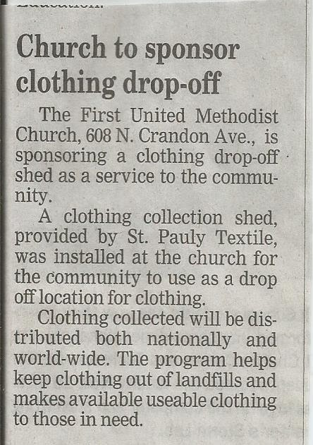 Life in Niles: United Methodist Clothing Donation Shed