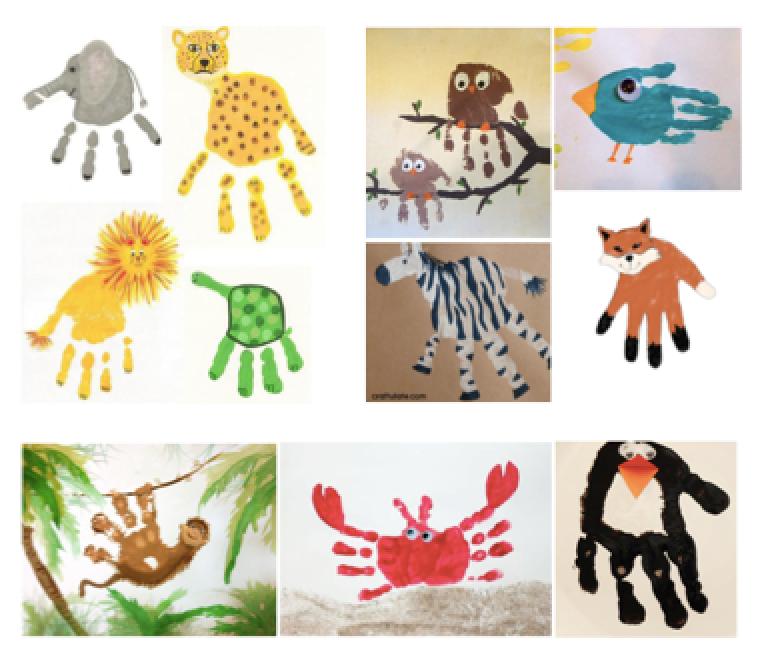 Los animales actividad con pintura - Ninos pintando con las manos ...