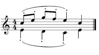 La voz inferior tiene el portato debajo y la voz superior encima