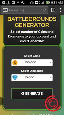 Selanjutnya silakan kalian scroll kebawah dan masukan jumlah Coins dan Diamonds yang ingin kalian inject atau tembak di akun Free Fire kalian. Setelah itu klik GENERATE