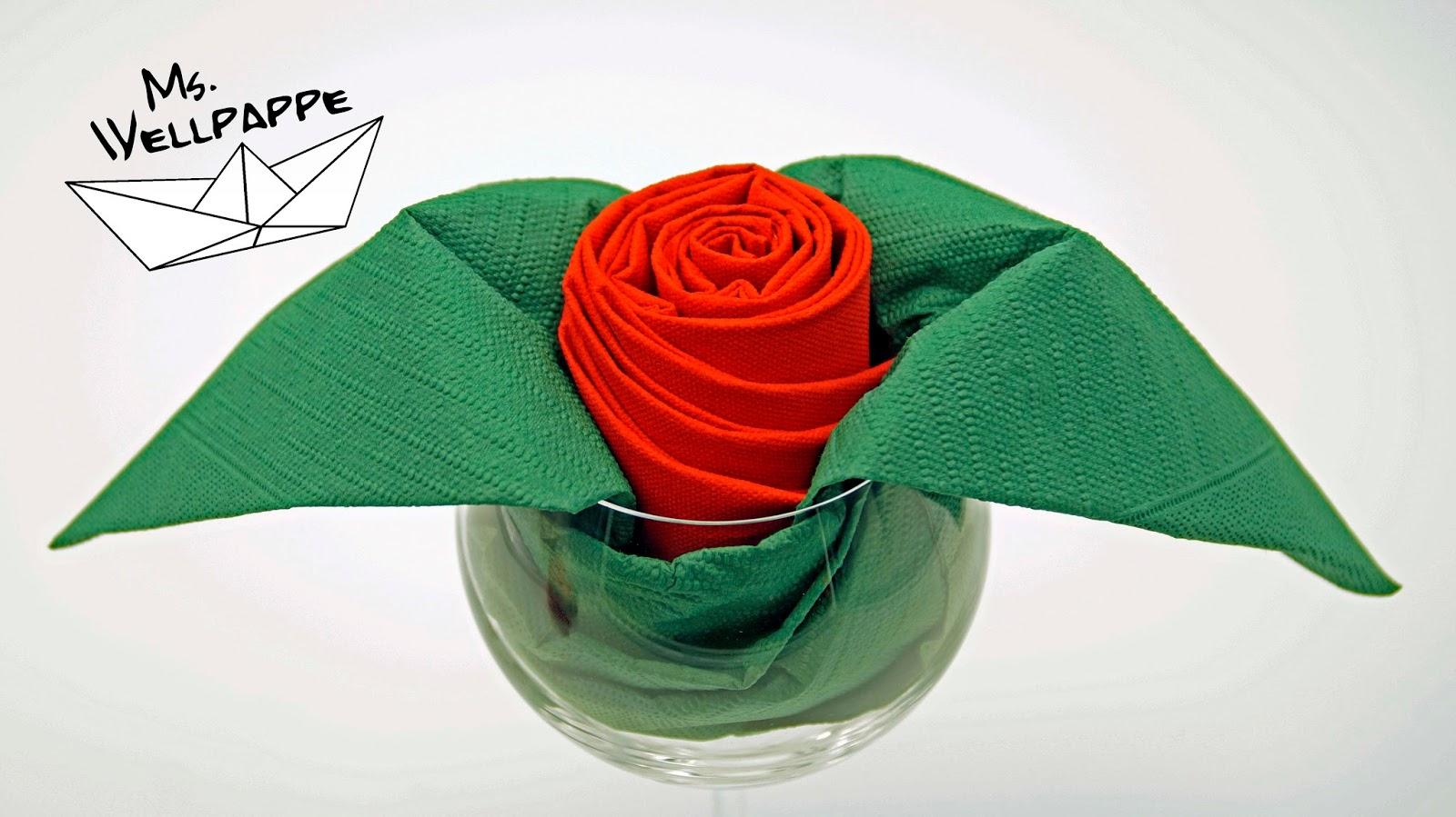 servietten rosen falten