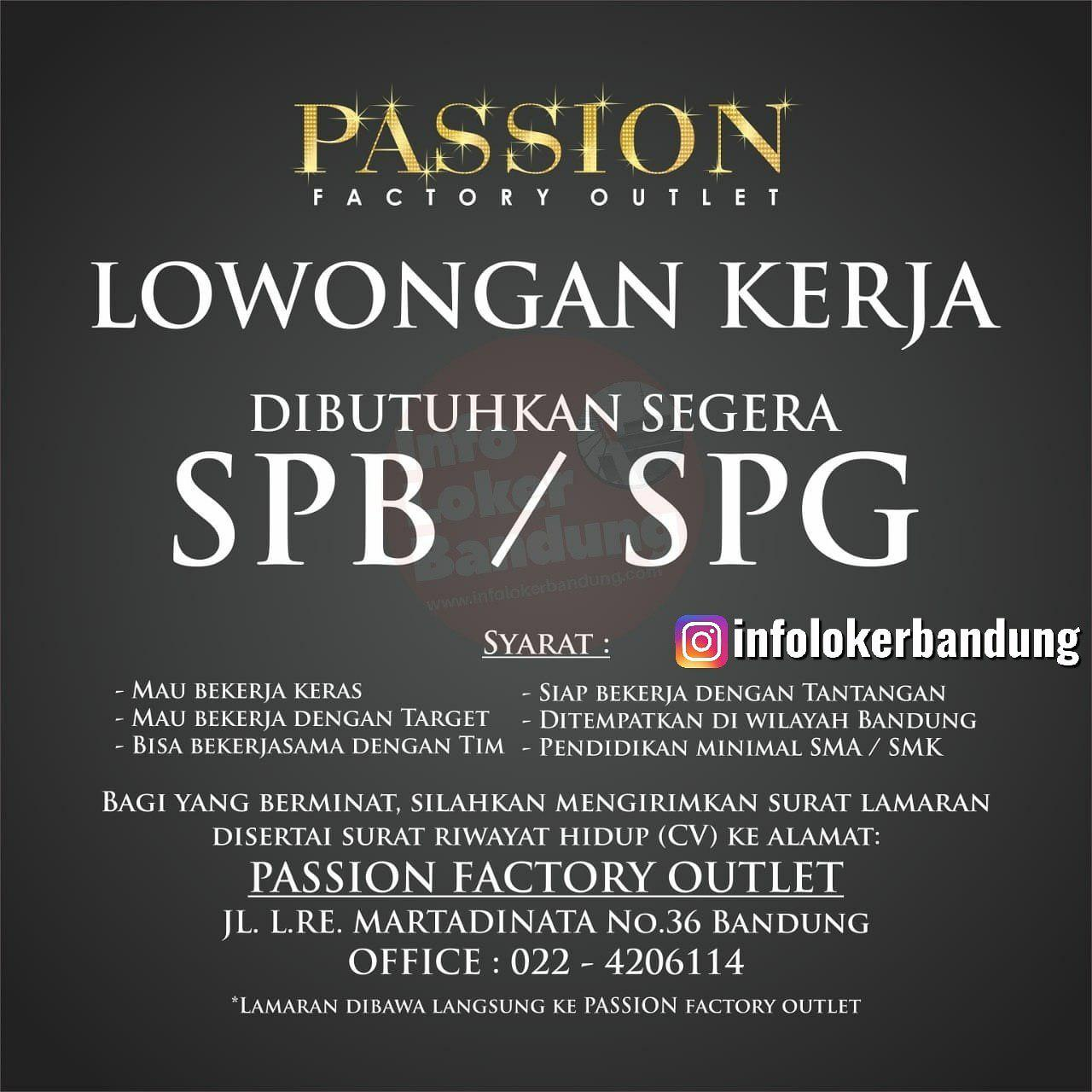 Lowongan Kerja SPG & SPB Passion Factory Outlet Bandung Mei 2019