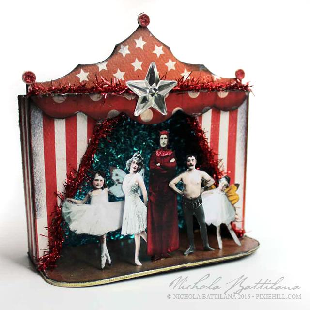 """A bunch of wierdos put on a show"" miniature stage - Nichola Battilana"