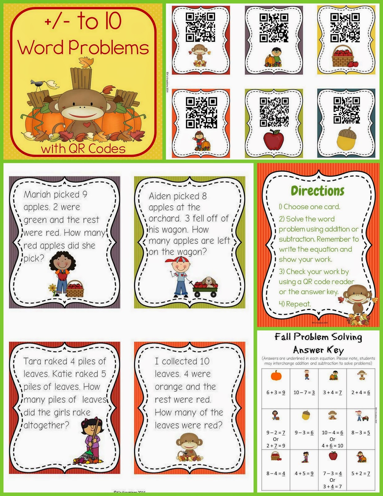 http://www.teacherspayteachers.com/Product/Fall-Word-Problems-with-QR-Codes-1st-Grade--1447054