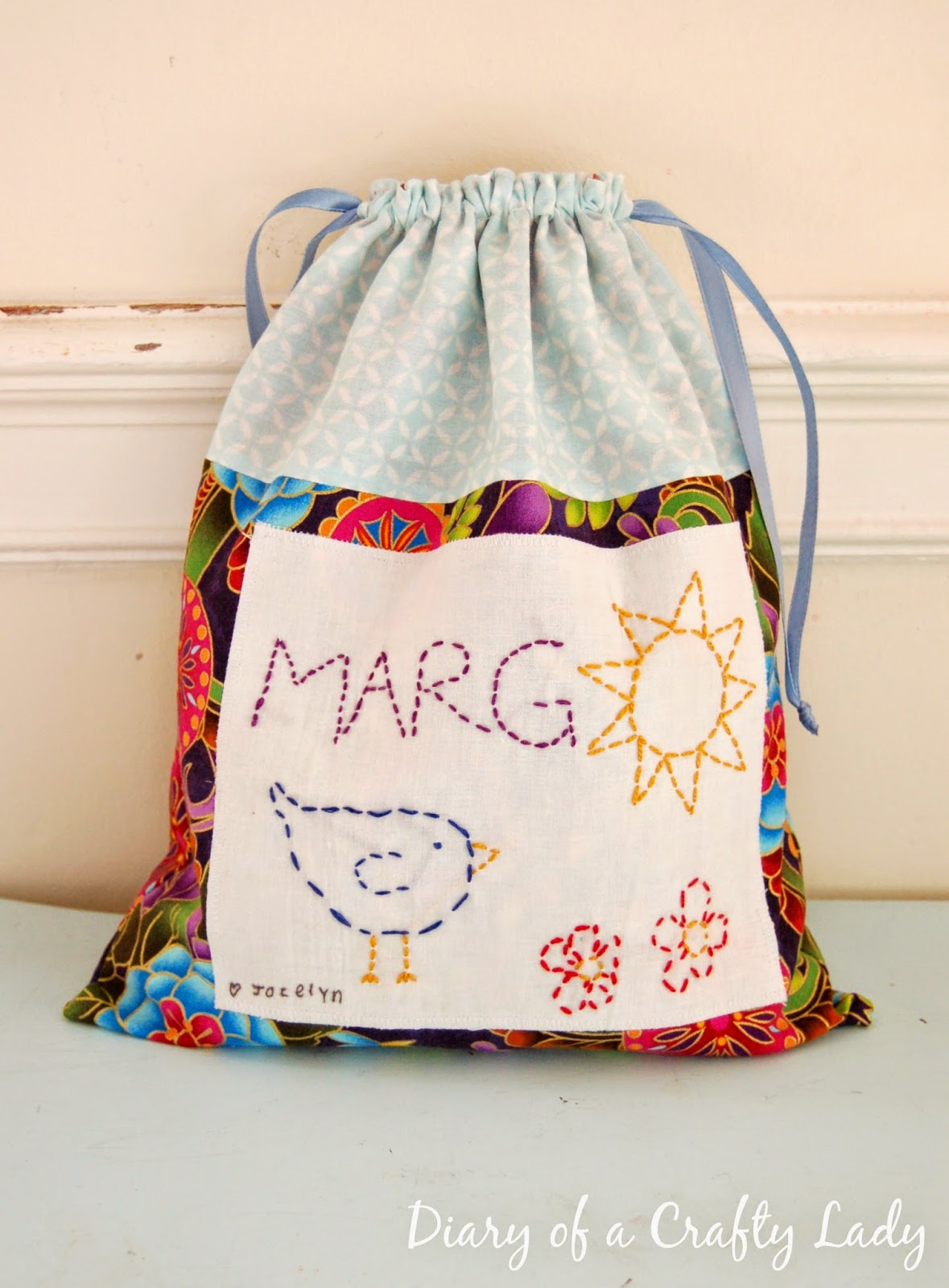 You Could Make A Whole Set Of Customized Drawstring Bags For Your Child S Own Little Toys Or One In Any Size As Great Way To Deliver Gift
