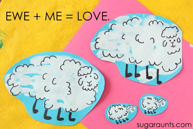 Sheep handprint and finger print art: Ewe + Me = Love