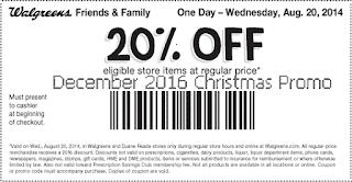 free Walgreens coupons december 2016
