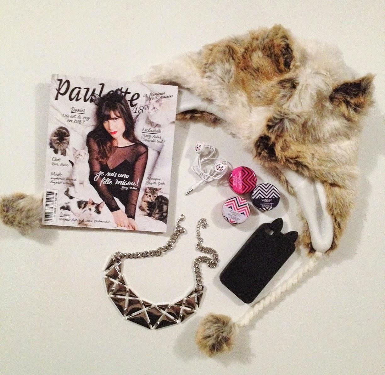 Shopping accessoires miaou chez Primark, écouteurs, coque smartphone, chapka, collier, baumes.