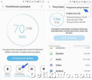 menu pemeliharaan perangkat di HP Samsung