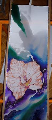 kupon materiału do parawanu, malowany jedwab, orchidea