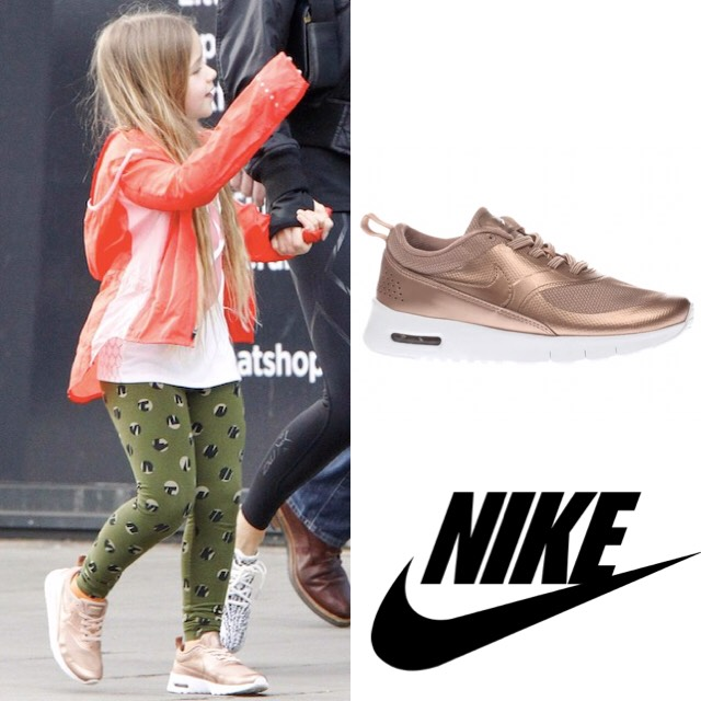 40e8a5ec1 Harper was wearing head-to-toe outfit by Nike: Thea Se Shoes in Rose Gold,  Impossibly Light Running Jacket in Bright Melon, Sportswear Leg-A-See  Tights, ...