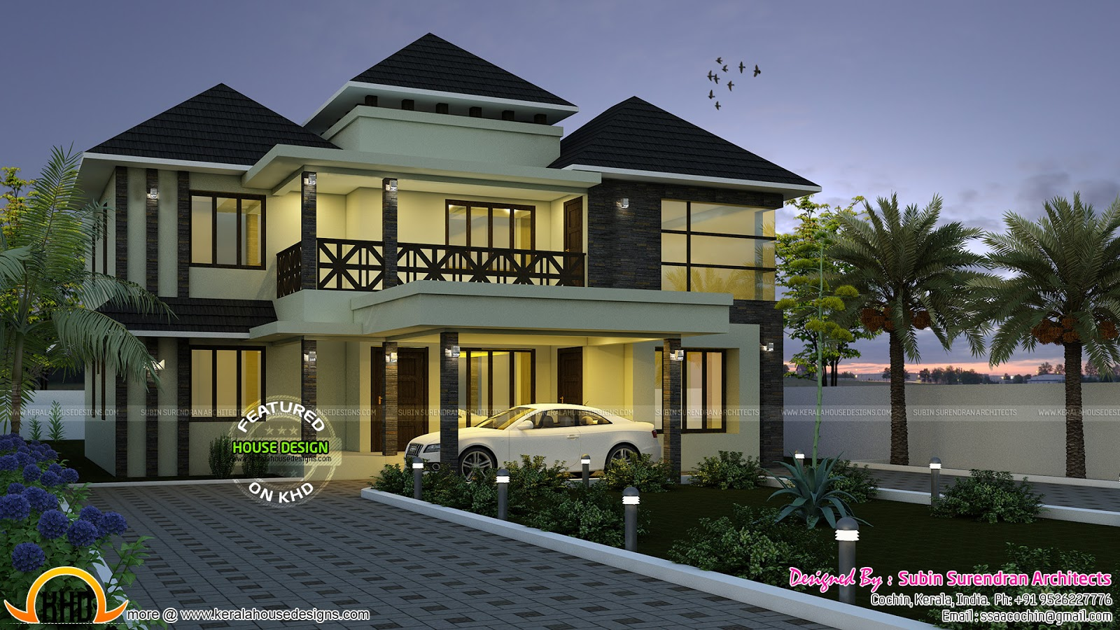 Superb sloping roof house plan kerala home design and for Kerala house roofing designs
