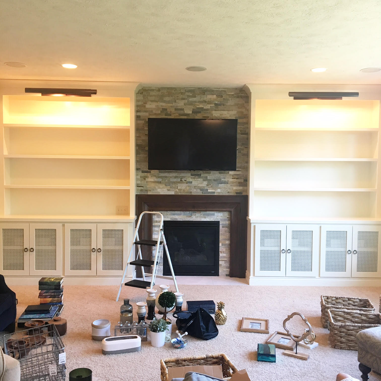 abby manchesky interiors before and after a fireplace wall
