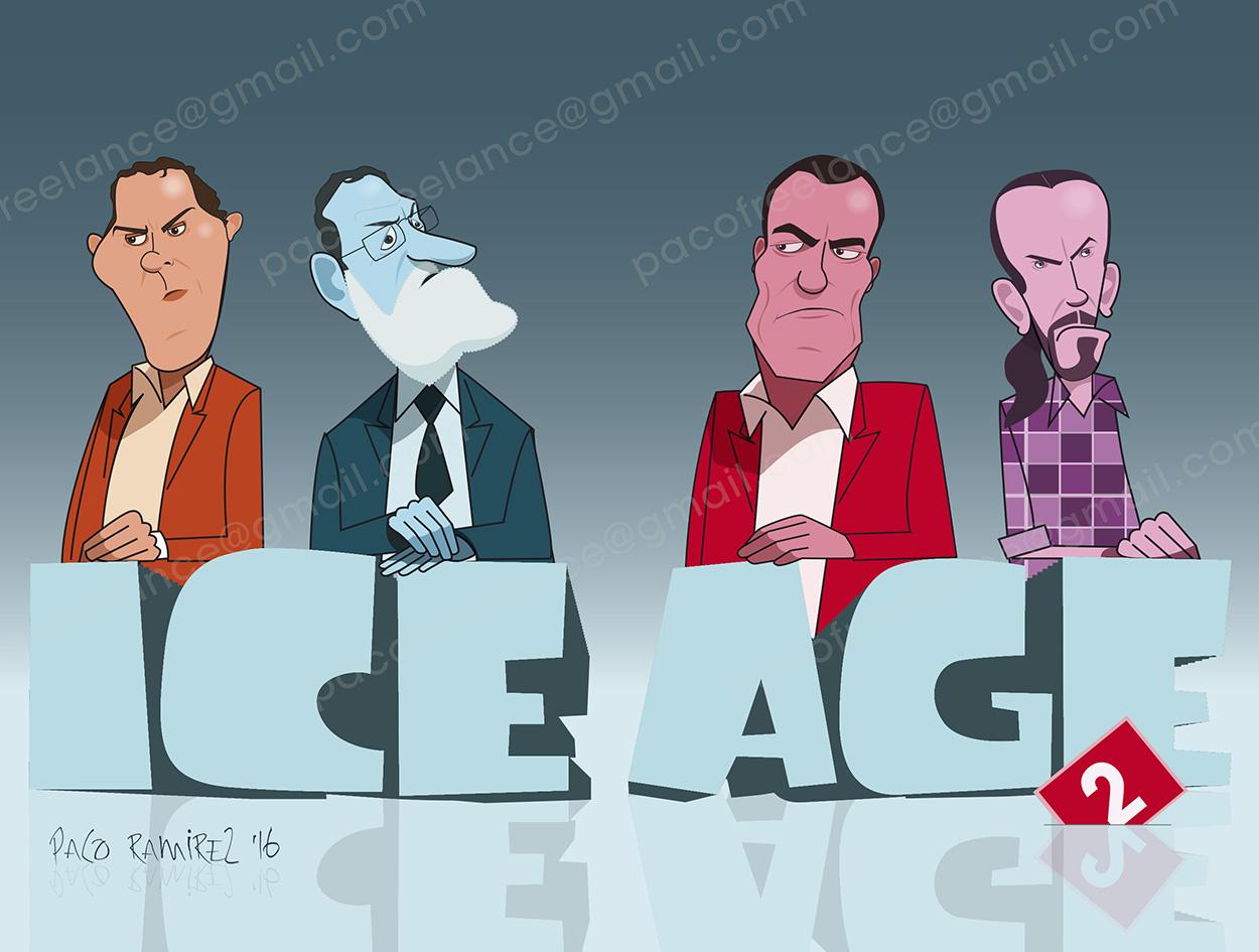 Rivera, Rajoy, Sanchez e Iglesias por Paco Ramírez