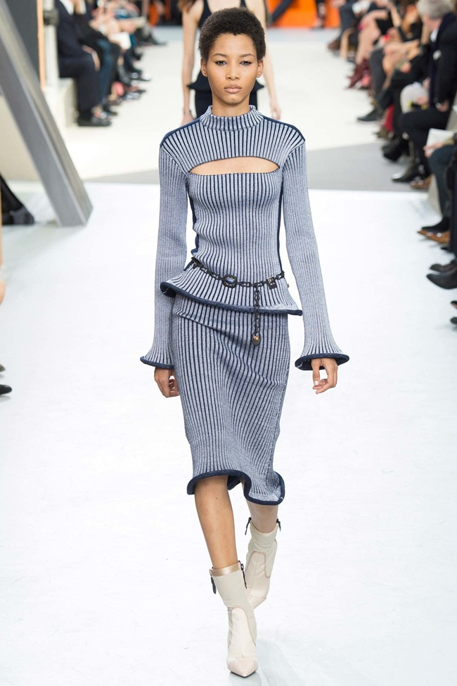 Louis Vuitton 2015 AW Wool Top with Cutout and Matching Skirt on Runway