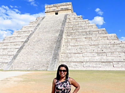Tausha Cowan in front of El Castillo at Chichen Itza in Mexico