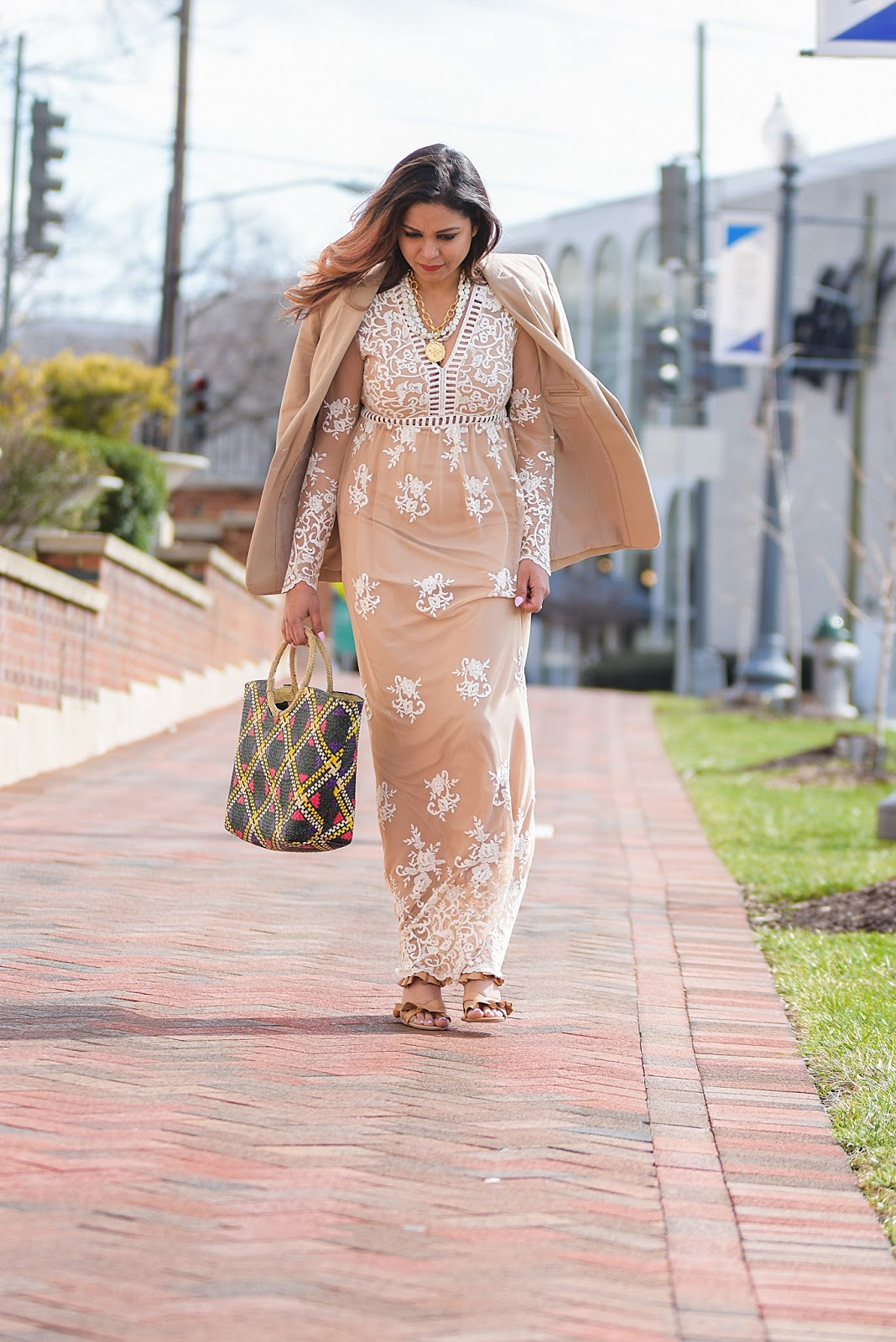 how to wear a lace dress. beige forever 21 lace dress, maxi spring outfit, ruffled heels, monochromatic outfit, street style, straw bag, wedding style, myriad musings