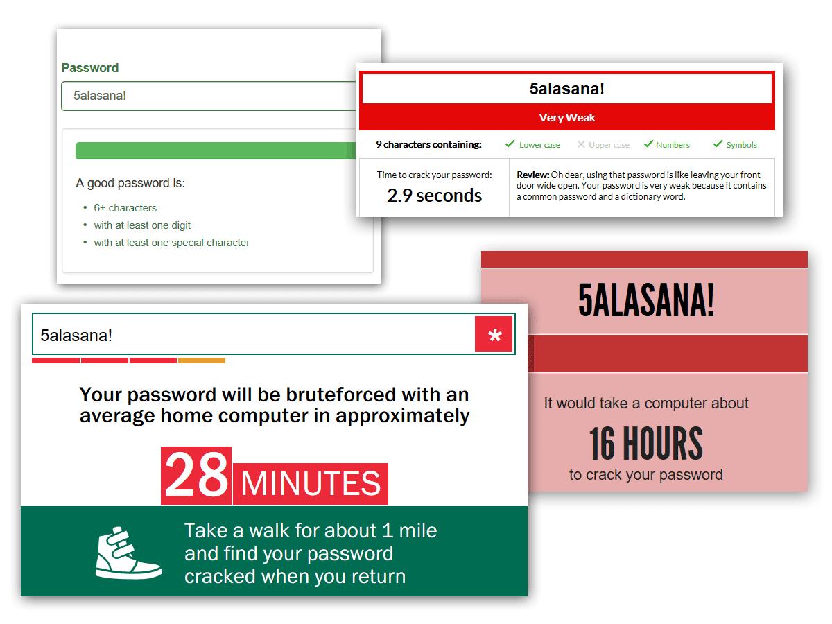 Erilaisia salasanamittareita murtoaika-arvioineen.