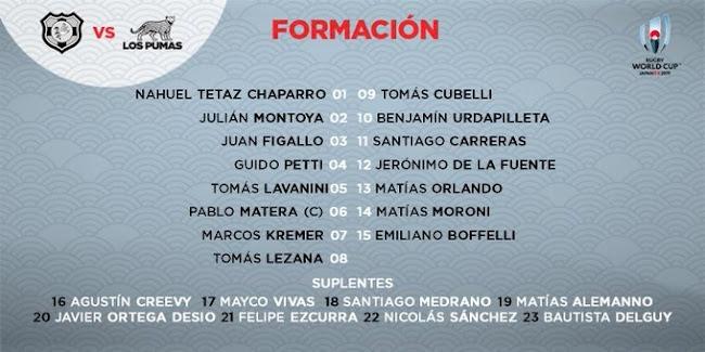 Formación de Los Pumas ante Tonga #RWC2019