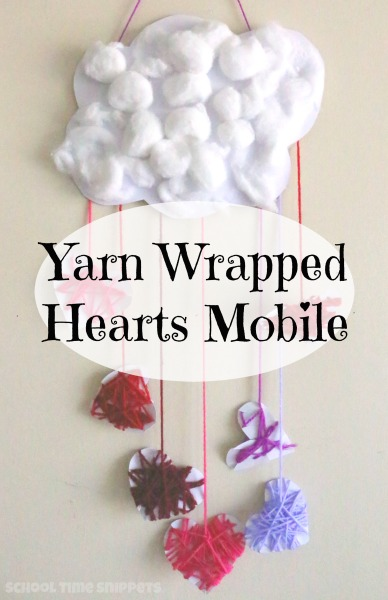 yarn wrapped heart mobile