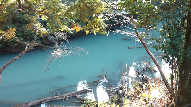 super eerie but beautiful blue color- very clear water