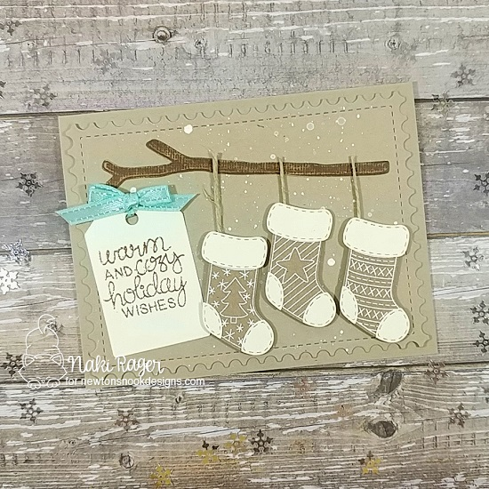 Christmas Stocking Card by Naki Rager | Holiday Stockings Stamp Set, Stylish Stockings Die Set, What a Hoot Die Set, and Tags Times Two Die Set by Newton's Nook Designs #newtonsnook #handmade