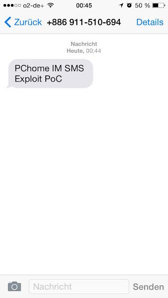 PChome IM所使用的簡訊認證系統未檢查,可以發送簡訊至歐洲,Zhi-Wei Cai 提供