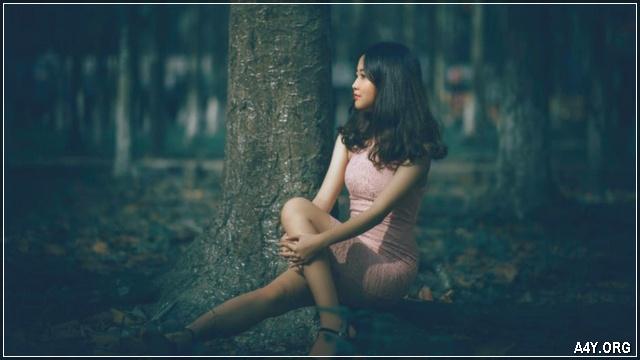 cô gái ngồi trong rừng cây buồn